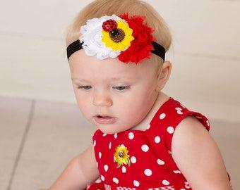 Lady bug headband - Lady bug 1st birthday headband -  Lady bug first birthday  - Sunflower headband - Ladybug baby shower