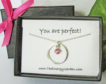 Pink Topaz Circle Pendant, Solid Sterling Silver Pendant and Chain, Compliment Gift, Affirmation Gift, Appreciation Gift, Jewelry Gift Card