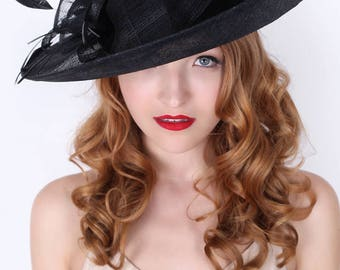 """Black Sun Hat - """"Charlotte"""" Black Flipped Brimmed Fascinator Sun Hat w/ mesh flowers and feathers"""