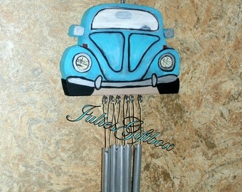 Wind Chime-Pool Blue-Car Buggy-Silver Tone Chimes-Unique-Exclusive One of A Kind-Original Design By JuliesGiftbox-Ready To Ship-(HCWC-V001)