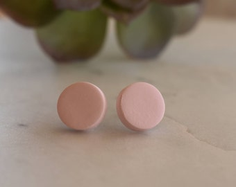 Ballerina pink polymer clay earrings, 12mm studs, hypoallergenic, handmade in Australia, gift idea