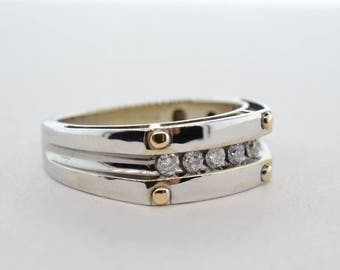14k White and Yellow Gold IB Goodman .50ctw SI1/G-H Men's Diamond Channel Set Ring- Size 9.5