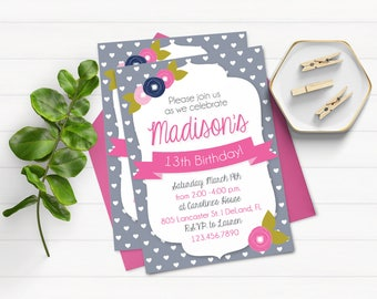 Pink and Navy Invitation Birthday Invitation for Girls Gray and Navy Invitation Printable Pink and Gray Invitation for Girls Printable