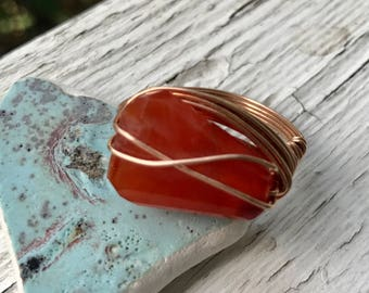 wire wrapped carnelian ring in 14k rose gold fill
