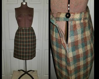 Miss Mayfair ..... Vintage 50s skirt / 1950s plaid pencil sheath / wool blue brown taupe / schoolgirl secretary ..  XXS XS S waist 24