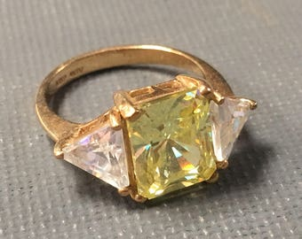 Vintage 10kt Gold Trilogy Ring Champagne CZ by Joseph AVIV