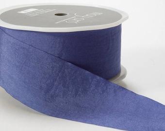 1.5 inch PERIWINKLE Wrinkled Ribbon, Look like silk, Weddings, romantic, lovely, blue ribbon, blue trim, craft supplies