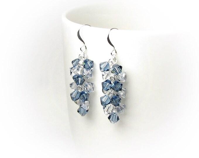 Denim Blue Swarovski Crystal Cluster Long Silver Earrings Casual Summer Fun Faded Jeans Jewelry for Women Graduation Gifts Indigo Blue Shade