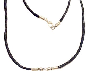 Genuine Rough Cut Black Tourmaline Stone Necklace - Silver Dipped Top - Made to Order