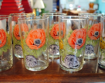 "Set of 8 Mid Century ""Chase"" Tall Juice Glasses, England"