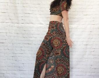 Vintage 60s Bohemian Mod Crop Top Lounge Wrap Pant Set S M Psychedelic Paisley Jumpsuit Ethnic Indian Festival Fashion