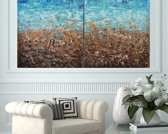 READY TO SHIP: 30x48 Multi Panel (2) Beach Sea Ocean Lake Sand Surf Nautical Natural Abstract Painting Original by MyImaginationIsYours