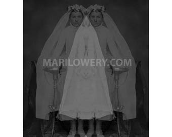Spooky Wall Art, Siamese Twins, 8.5 x 11 Inch Print, Black and White, Halloween Decor, Haunting Art, Altered Photograph