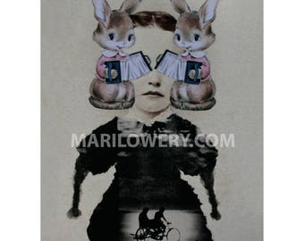 Weird Art Paper Collage Print, Surreal Art 8.5 x 11 Inch Print, Bunny Rabbits, Unusual Wall Decor, Mixed Media Collage