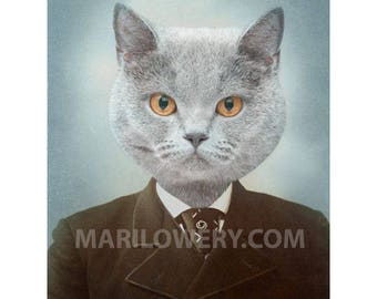 Cat Art Print, Anthropomorphic, 5 x 7 Inch Print, Collage Art, Gray Cat Art, Cat in Suit, Animal in Clothes, Gift for Men, frighten