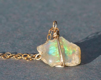 GENUINE Raw Welo Opal Necklace,Opal Solitaire,Rough Genuine Opal Pendant,14k Gold Filled,Dainty,Layering,Minimalist Gift For Her,Birthstone