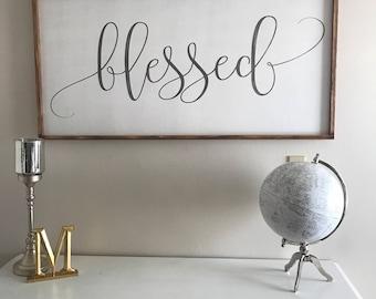 Blessed, 24x48, Framed Wood Sign