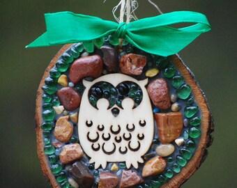 owl ornament,mosaic owl,Mosaic Christmas decor,gift tag,rustic owl,holiday decor,tree decoration,wood round,green mosaic,owl decor,owl art