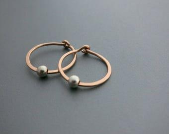 Mixed Metals Hoops Small Rose Gold Hoop Earrings