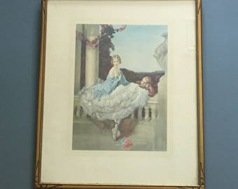 "Walter Ernest Webster art deco framed print  ""Romance"" - c 1920s"