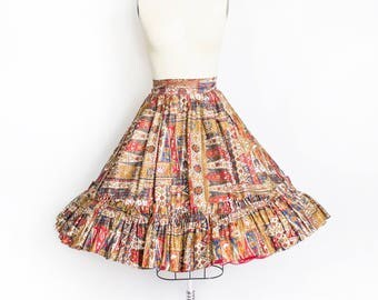 Vintage 1960s Circle Skirt - Ethnic Cotton Gold Printed High Waisted Full Skirt 50s - Large