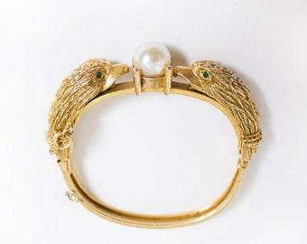 Vintage 1950s Bracelet - Castlecliff Gold Pear Rhinestone Eagle Bangle Cuff