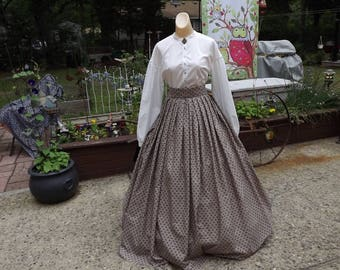 Ladies Civil War Print Skirt Variable Size Waist Civil War Skirt