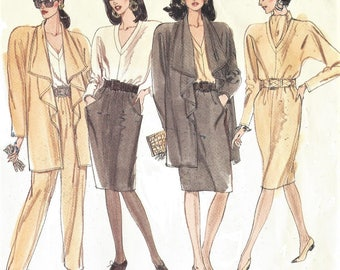 1980s Womens Stretch Knit Jacket, Dress or Top, Pants & Skirt, Scarf Vogue Sewing Pattern 2383 Size 8 10 12 Bust 31 1/2 to 34 FF