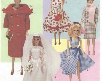90s Vintage Fashion for 11 1/2 Inch Fashion Dolls 1950s Doll Clothes Coat, Dresses, Suit and More McCalls Sewing Pattern 9664 UnCut