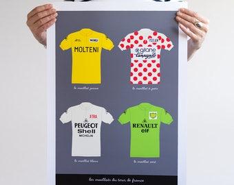 Bike Art Print, Tour de France, Classic French Cycling Jerseys Print