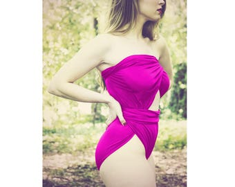 One Wrap Large Bathing Suit Fuchsia Wrap Around Swimsuit Womens and Teens Unique Swimwear Maternity Swimming Costume Badeanzug traje de baño