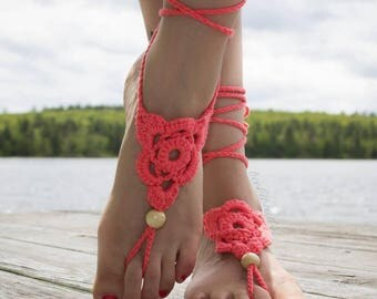 OSFA Crochet Barefoot Sandals Hippie Jewelry Festival Beach Summer Accessories Handmade Bohemian Sandals Gypsy Earthing Soleless Shoes Coral