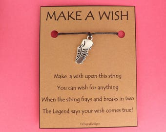 Running Shoe Trainer Runner Race Wish String Friendship Bracelet Cord Band BFF Stocking Filler Simple Gift Birthday Fits in Greeting Card