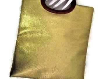 1960s Gold Bag,  Gold Purse, Gold Handbag, Gold Vinyl Purse, 60s Faux Leather Purse, Metallic Pocketbook, Faux Gold Leather, Flat Purse