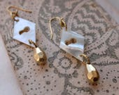 Antique French 1900 mother of pearl keyhole earrings embellished w/ metal handmade beads, gold filled finding, secret vintage