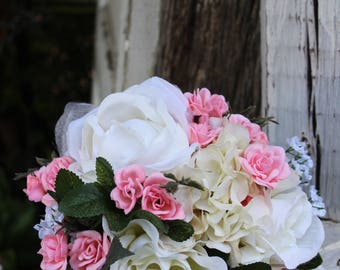Pink and white silk wedding bouquet, bridal portraits, toss bouquet, pink and white roses and hydrangea, artificial flowers, silk flowers