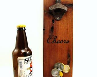 wall mount bottle opener cast iron wormhole wood cedar magnet cap catcher cheers