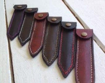 Handmade leather fingernail file case.