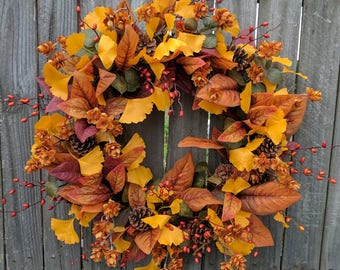 Fall Wreath, Fall Berry Wreath with Hops, Fall Ginkgo and Magnolia Leaf Wreath, Fall Autumn Wreath, Thanksgiving Wreath, Harvest Decoration