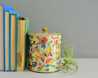 Vintage Butterfly Tin - Made In England Floral Retro Bright Colorful Container Storage