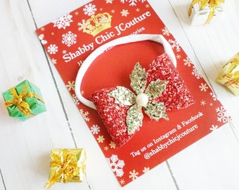 Christmas Bow Headband, Red and Gold, Girls Headband, Baby Christmas Headband, Sparkly Bows, Handmade, Christmas Hair Bows, Poinsettia