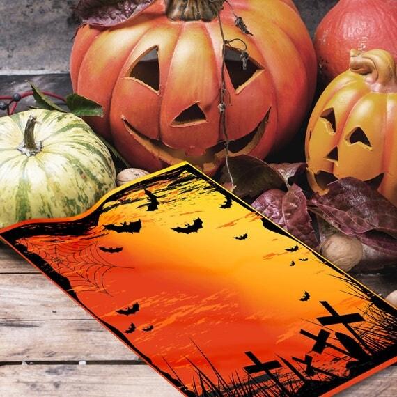 Graveyard & Bats Halloween Book of Shadows  Page