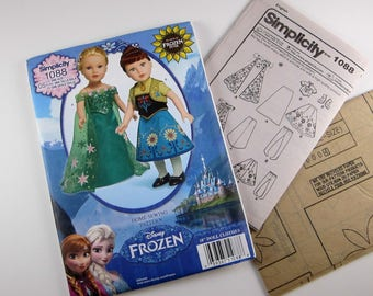"""FROZEN FEVER Simplicity Sewing Pattern 1088, 18"""" Doll Clothes, Elsa & Anna Outfits"""