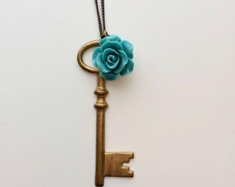 Brass Key & Rose Necklace