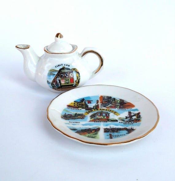Vintage 1970's Miniature Souvenir Tea Pot and Saucer from San Francisco