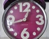 Westclox vintage 1960s alarm clock ~ purple and white ~ working ~ original 60s 70s retro mod