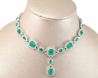 Vintage CINER Flawed Emerald Glass Rhinestone Drop Dangle Lavalier Necklace Cartier Design