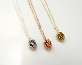 Tiny gold pine cone necklace, pine cone charm, acorn necklace, layering necklace, silver pine cone, rose gold pine cone