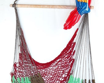 Medium image of hammock chair   red green brown