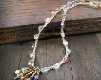 Crystal Droplets Necklace, Artisan Brass Hammered Drops, Soft Colors, Bohemian Crochet Jewelry